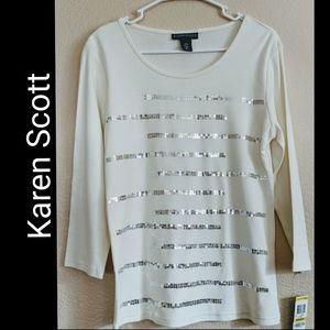 Karen Scott Off White Sequin Blouse Sz M
